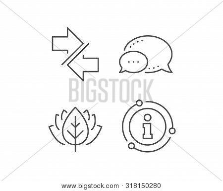Synchronize arrows line icon. Chat bubble, info sign elements. Communication Arrowheads symbol. Navigation pointer sign. Linear synchronize outline icon. Information bubble. Vector poster