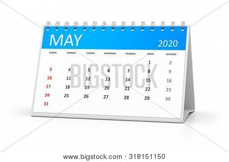 a table calendar for your events 2020 may 3d illustration