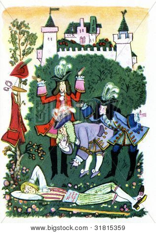USSR - CIRCA 1976: Postcard printed in thr USSR shows an illustration of the Brothers Grimm fairy tale
