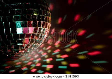 Disco ball light reflection background. Close up. poster