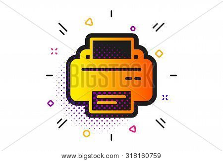Printout Electronic Device Sign. Halftone Circles Pattern. Printer Icon. Office Equipment Symbol. Cl