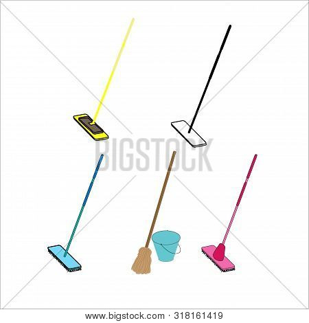 Housework Broom And Mop. Sweeper Brooms, Home Cleaning Mops And Cleanup Broom With Dustpan. Broom, K
