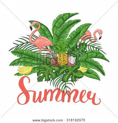 Tropical Summer Arrangement With Flamingos, Palm Leaves And Exotic Flowers.