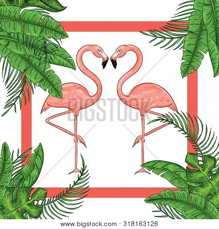 Tropical Exotic Border Frame Template With Bright Green Jungle Palm Tree