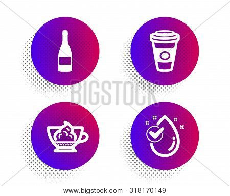 Espresso Cream, Champagne Bottle And Takeaway Coffee Icons Simple Set. Halftone Dots Button. Water D