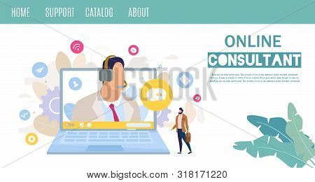 Company Customers Online Support And Consulting Service Or Hot Line Flat Vector Web Banner, Landing