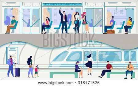 Metropolis Public Transport, Urban Passengers Transportation System Flat Vector. Female And Male Cit