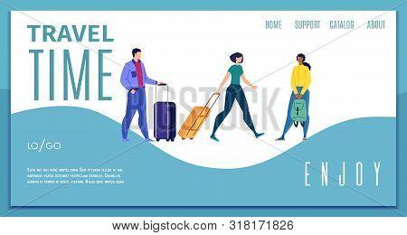 Enjoy Travel Time, Travel Company, Touristic Agency Online Service Flat Vector Web Banner, Landing P