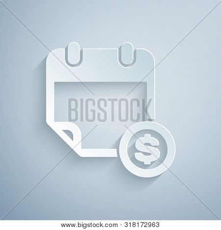 Paper Cut Financial Calendar Icon Isolated On Grey Background. Annual Payment Day, Monthly Budget Pl