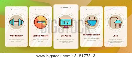 Color Hostel, Tourist Accommodation Vector Onboarding Mobile App Page Screen. Hostel Facilities And Services. Outline Cliparts. Hotel Reservation Pictograms. Hospitality Industry Illustration poster