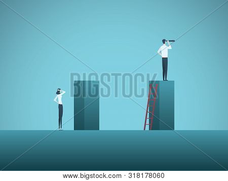 Inequality In Corporate Business Vector Concept With Businessman And Businesswoman. Unequal Career O