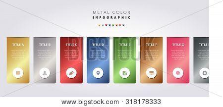 Metal Color Infographic Vector Design, Metallic Gradient Colorful Ui Template, Elegant Business Work