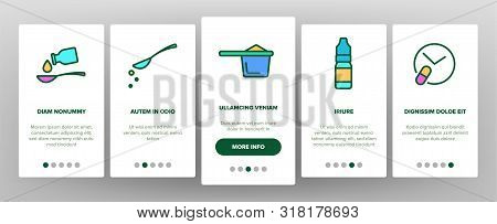 Color Dosage, Dosing Drugs Vector Onboarding Mobile App Page Screen. Pharmacological Medications Dos