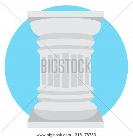 A Column In The Doric Style Logo. Vector Illustration Isolated On White Background.