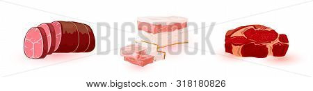 Set With Ingredients For Cooking Sausage, Kielbasa, Baloney, Salami. Fresh Raw And Prepared Meat Pro