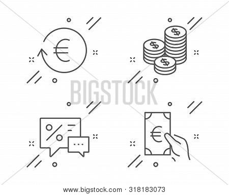Exchange Currency, Coins And Discounts Line Icons Set. Finance Sign. Reshresh Exchange Rate, Cash Mo