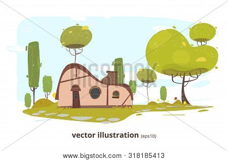 Country House With Round Window, Door And Chimney. Traditional Farm Craft Home With Garden And Footp