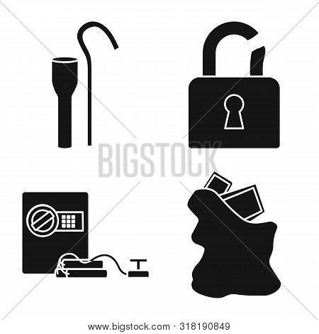 Vector Design Of Robber And Villain Symbol. Set Of Robber And Police Vector Icon For Stock.