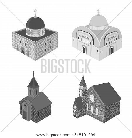 Isolated Object Of Landmark And Clergy Symbol. Collection Of Landmark And Religion Stock Symbol For