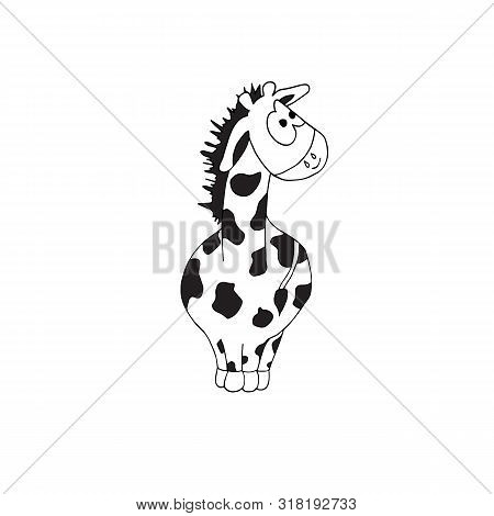 Cute Black And White Coloring Page With Giraffe On Isolated White Background.