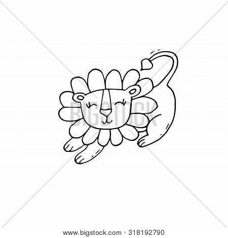 Cute Black And White Coloring Page With Lion On Isolated White Background.