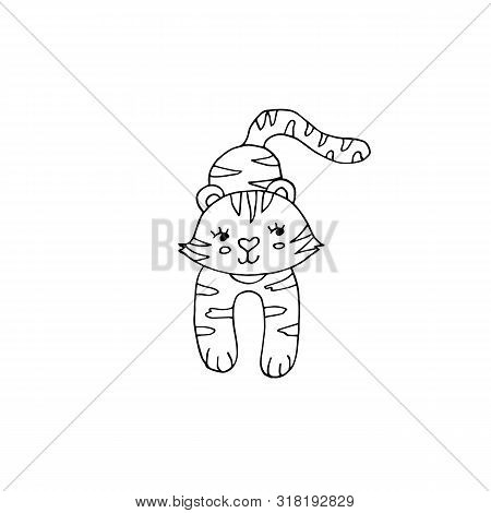 Cute Black And White Coloring Page Wit Tiger On Isolated White Background.