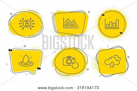 Report Diagram, Investment Graph And Rainy Weather Signs. Chat Bubbles. Bitcoin System, Recovery Pho