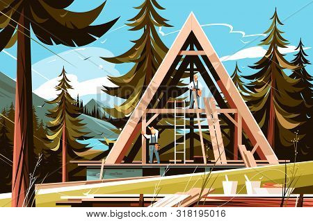 Home Construction In Picturesque Place Vector Illustration