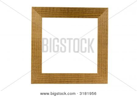 Simple Wood Frame Isolated On White, Clipping Path