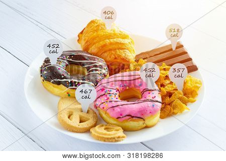 Calories Counting And Food Control Concept. Doughnut ,croissant ,chocolate And Cookies With Label Of