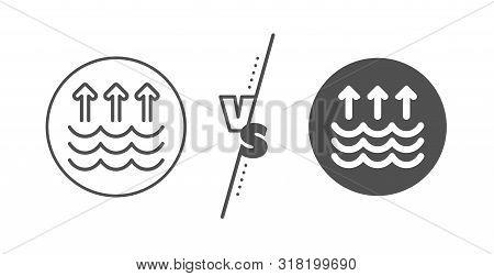 Global Warming Sign. Versus Concept. Evaporation Line Icon. Waves Symbol. Line Vs Classic Evaporatio
