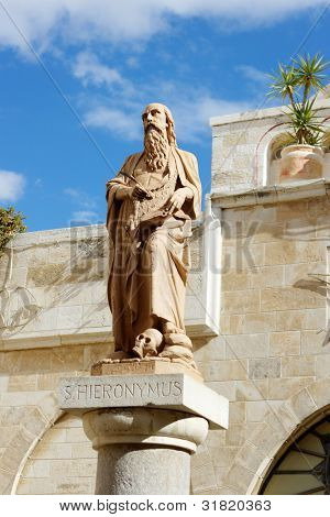 Hieronymus -  founder of a monastery in Bethlehem. The translator of the bible on Latin poster