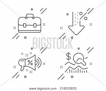 Portfolio, Low Percent And Sale Megaphone Line Icons Set. Check Investment Sign. Business Case, Disc