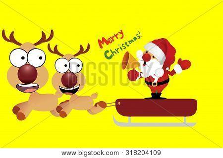 Santa And Christmas Sleigh Two Reindeers On Yellow