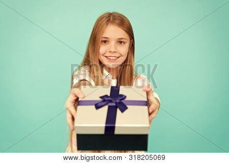 poster of Pleasant surprise. Girl kid hold birthday gift box. Every kid dream about such surprise. Birthday girl carry present. Making gifts. Birthday wish list. Happiness and joy. Happy birthday concept.