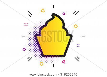 Muffin Sign Icon. Halftone Dots Pattern. Cupcake Symbol. Classic Flat Muffin Icon. Vector