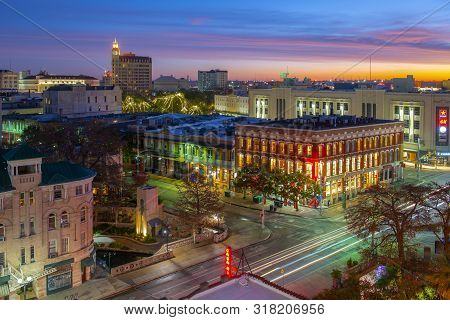 San Antonio, Tx, Usa - Dec. 11, 2018: Historic Buildings On Commerce St At Losoya St With Emily Morg
