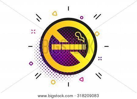 No Smoking Sign Icon. Halftone Dots Pattern. Quit Smoking. Cigarette Symbol. Classic Flat Smoke Icon