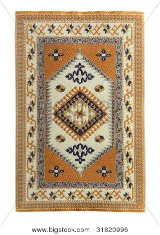 Arabian silk carpet on white background