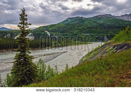 A Scenic View Of The Nenana River In Denali National Park In Alaska.