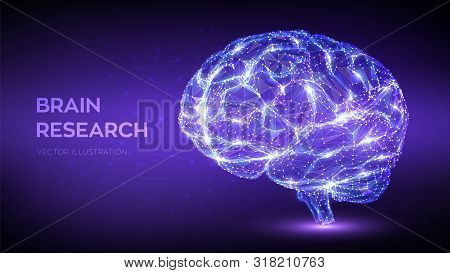 Brain. Low Poly Abstract Digital Human Brain. Neural Network. Iq Testing, Artificial Intelligence Vi