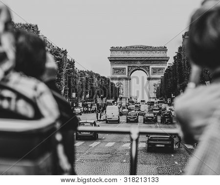 Great View From City Tour Bus Driving Through Champs Elysee Avenue On A Beautiful Sunny Day Towards