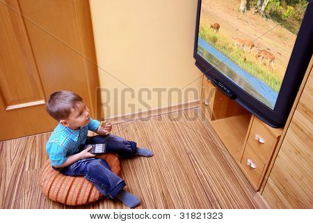 Rear view of little boy sitting on the floor and watching cinema on TV at home.  TV screen -  photo of the author