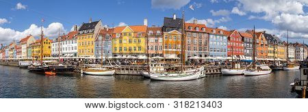 Copenhagen, Denmark - August 21, 2019: Panoramic View Of The Famous Nyhavn District In The City Cent