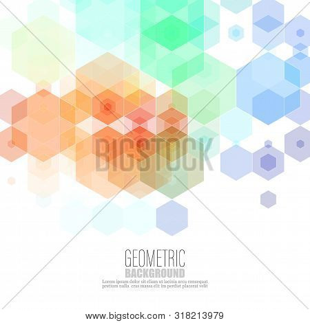 Vector Abstract Geometric Background. Template Brochure Design. Blue, Green Hexagon Shape