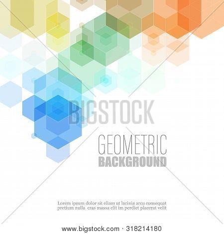 Geometric Hexagon Shape Elements Multicolor Design Vector