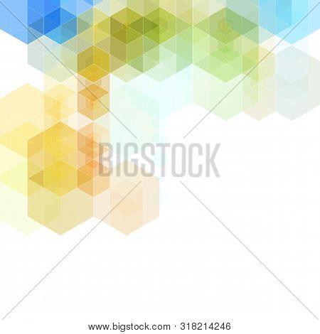 Vector Abstract Geometric Background. Template Brochure Design. Green Hexagon Shape