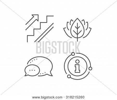 Stairs Line Icon. Chat Bubble, Info Sign Elements. Shopping Stairway Sign. Entrance Or Exit Symbol.
