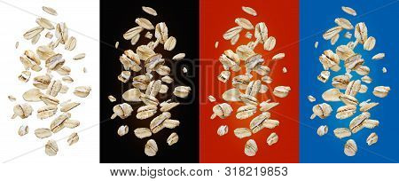 Oat Flakes Isolated On White And Color Backgrounds, Collection