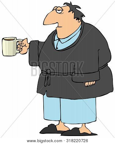 Illustration Of A Sleepy Middle Age Man Wearing Pajamas And A Robe Holding A Cup Of Coffee.